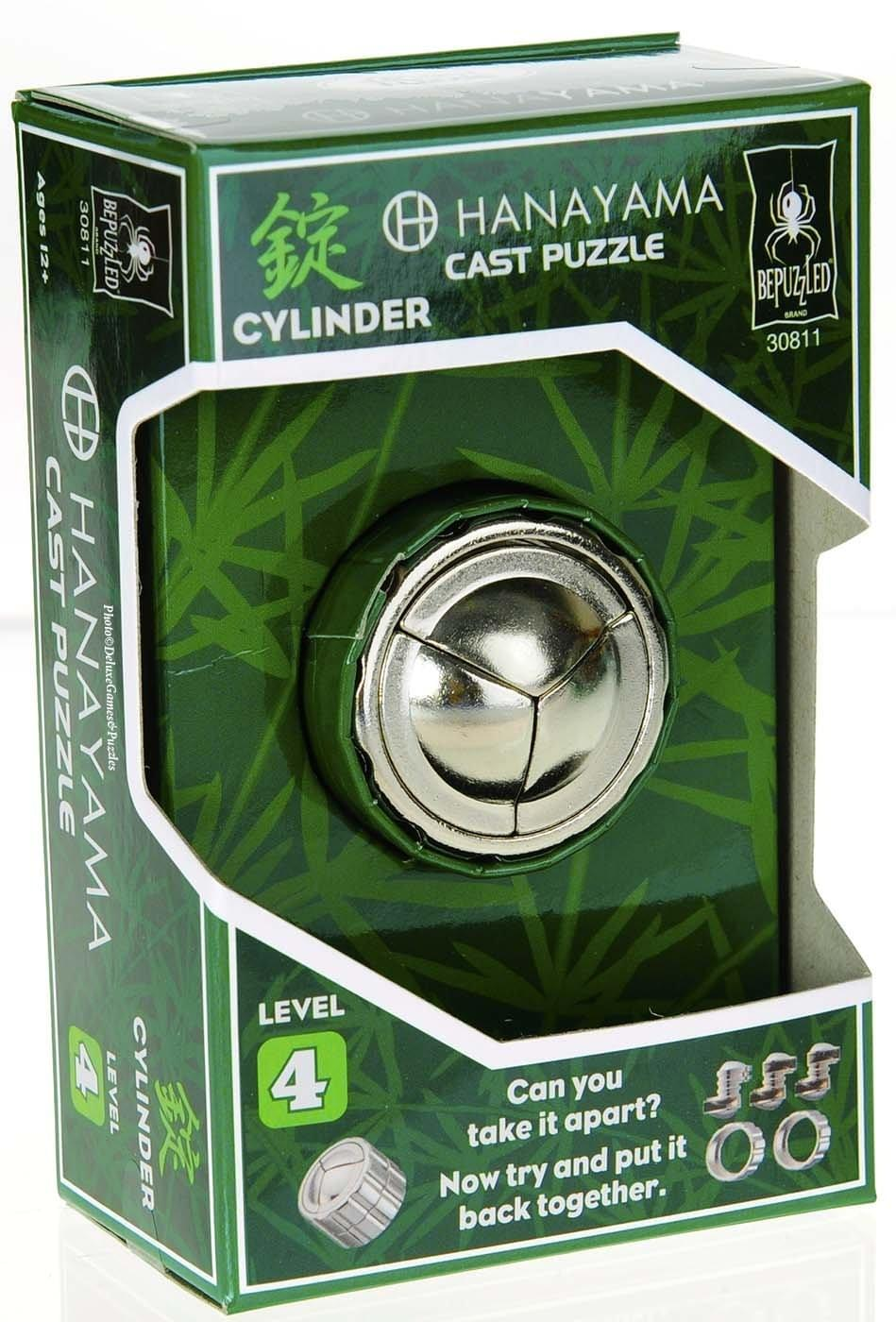 Hanayama Level 4 Cast Metal Brain Teaser Puzzle - Cylinder