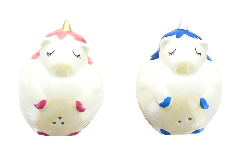 Glitter Galaxy Pink & Blue Unicorn Salt & Pepper Shaker Set