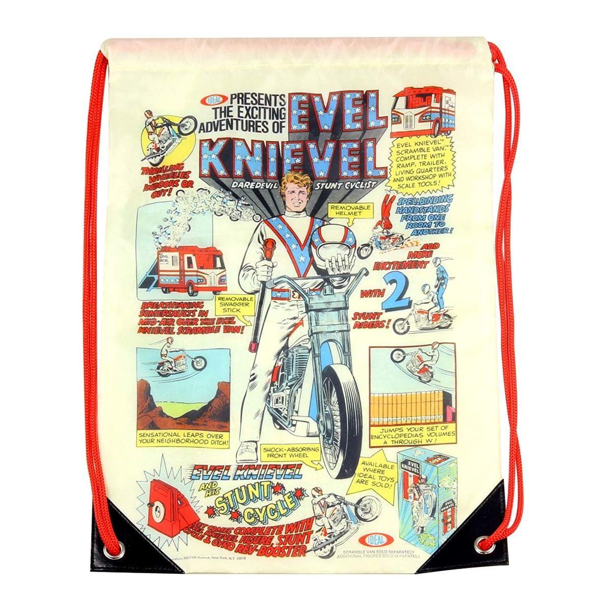 Evel Knievel 17-Inch Polyester Drawstring Cinch Bag
