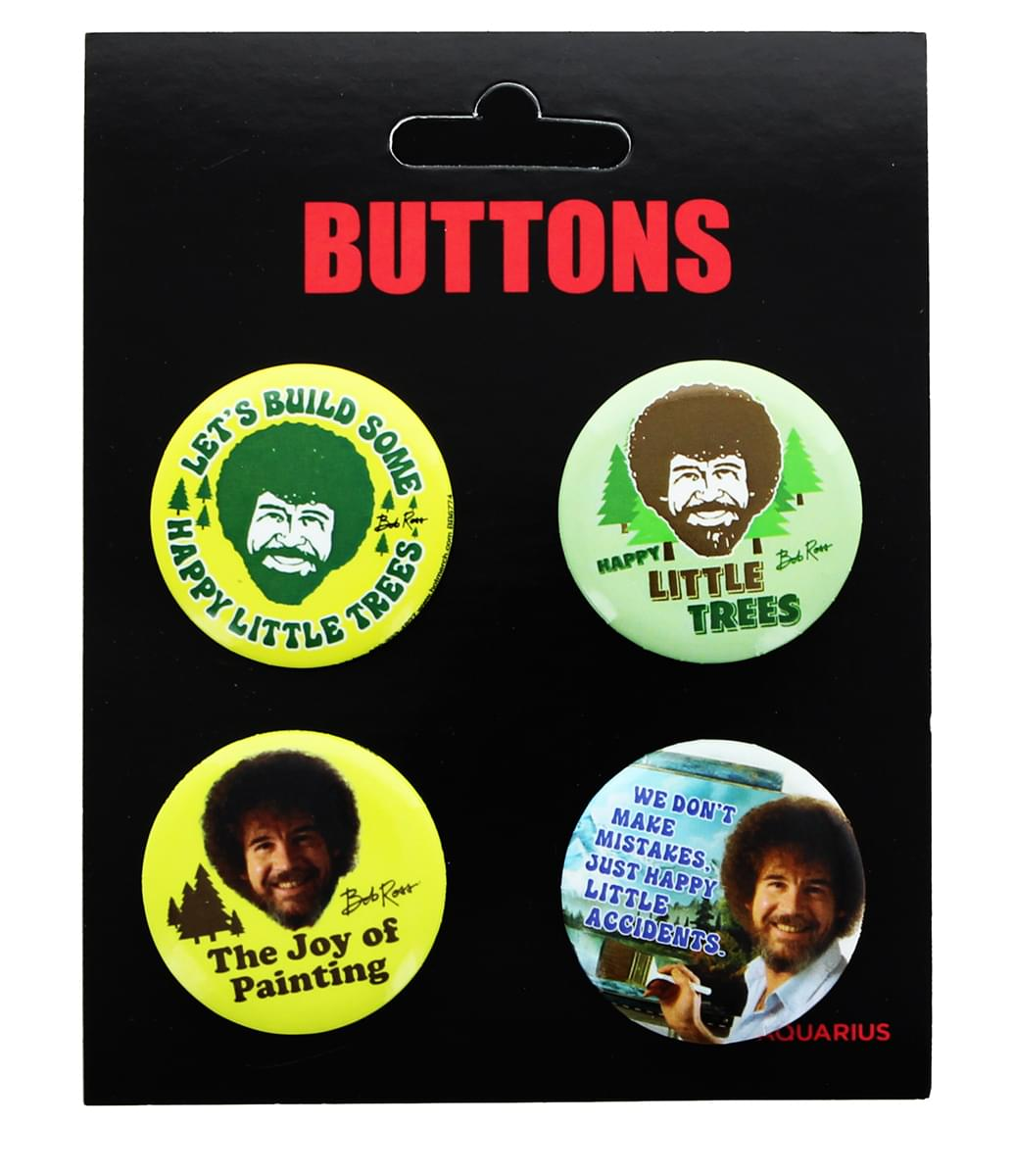 Bob Ross Carded Button 4-Pack - Various Quotes