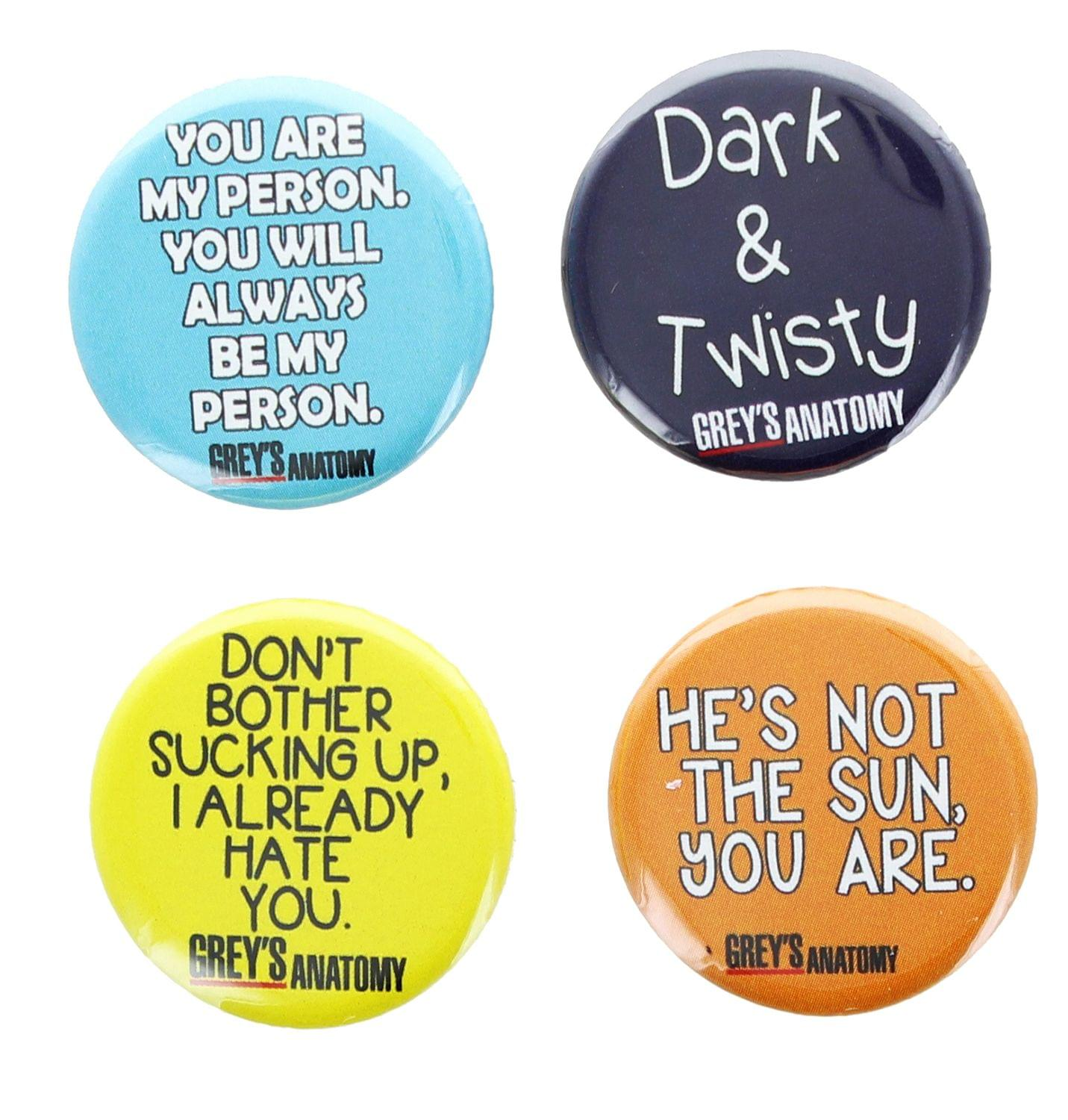 Grey's Anatomy 1.25 Inch Collectible Button Pins - Set of 4