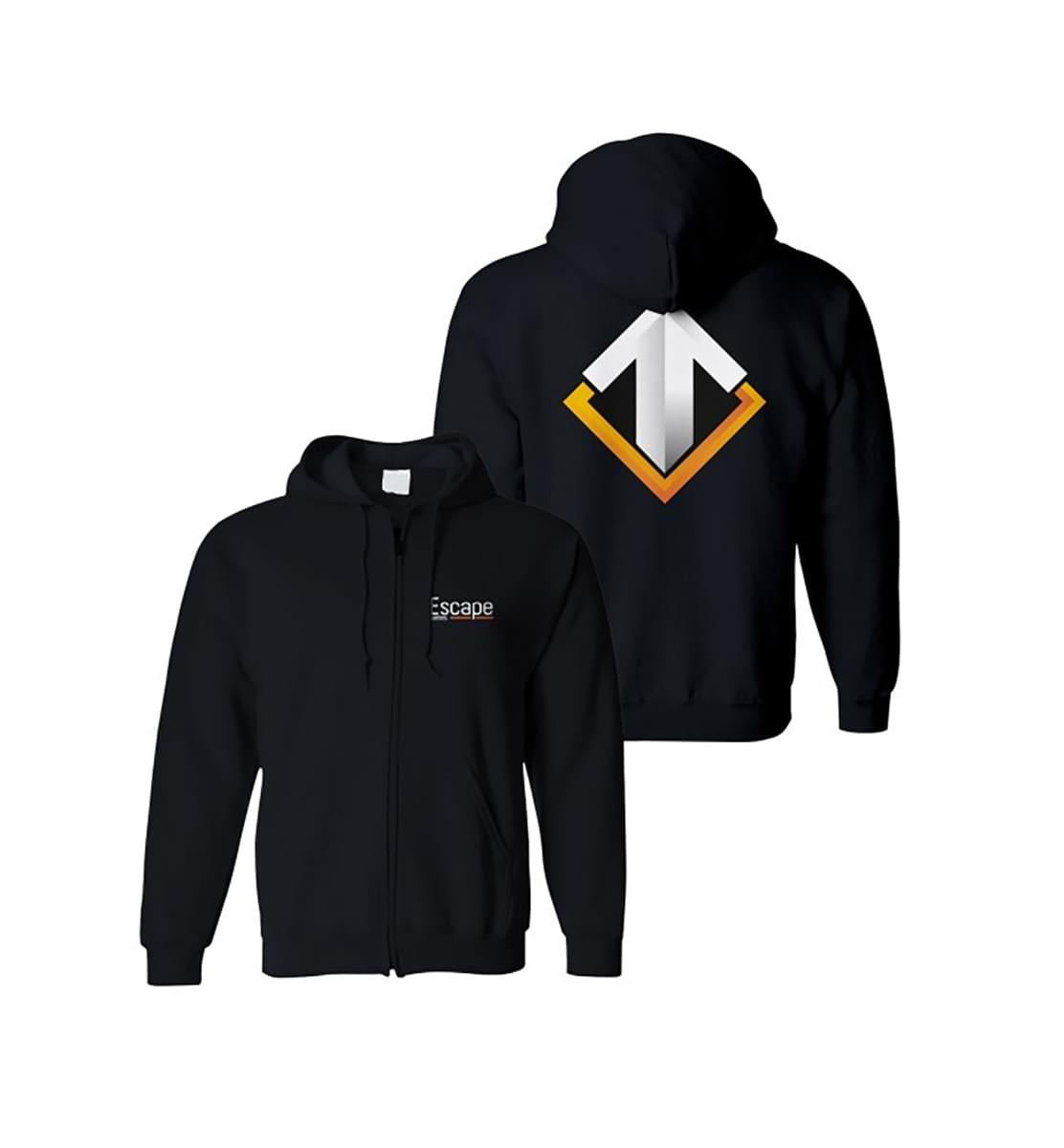 Escape Gaming Large Logo Black Zip-Up Men's Hoodie, Large