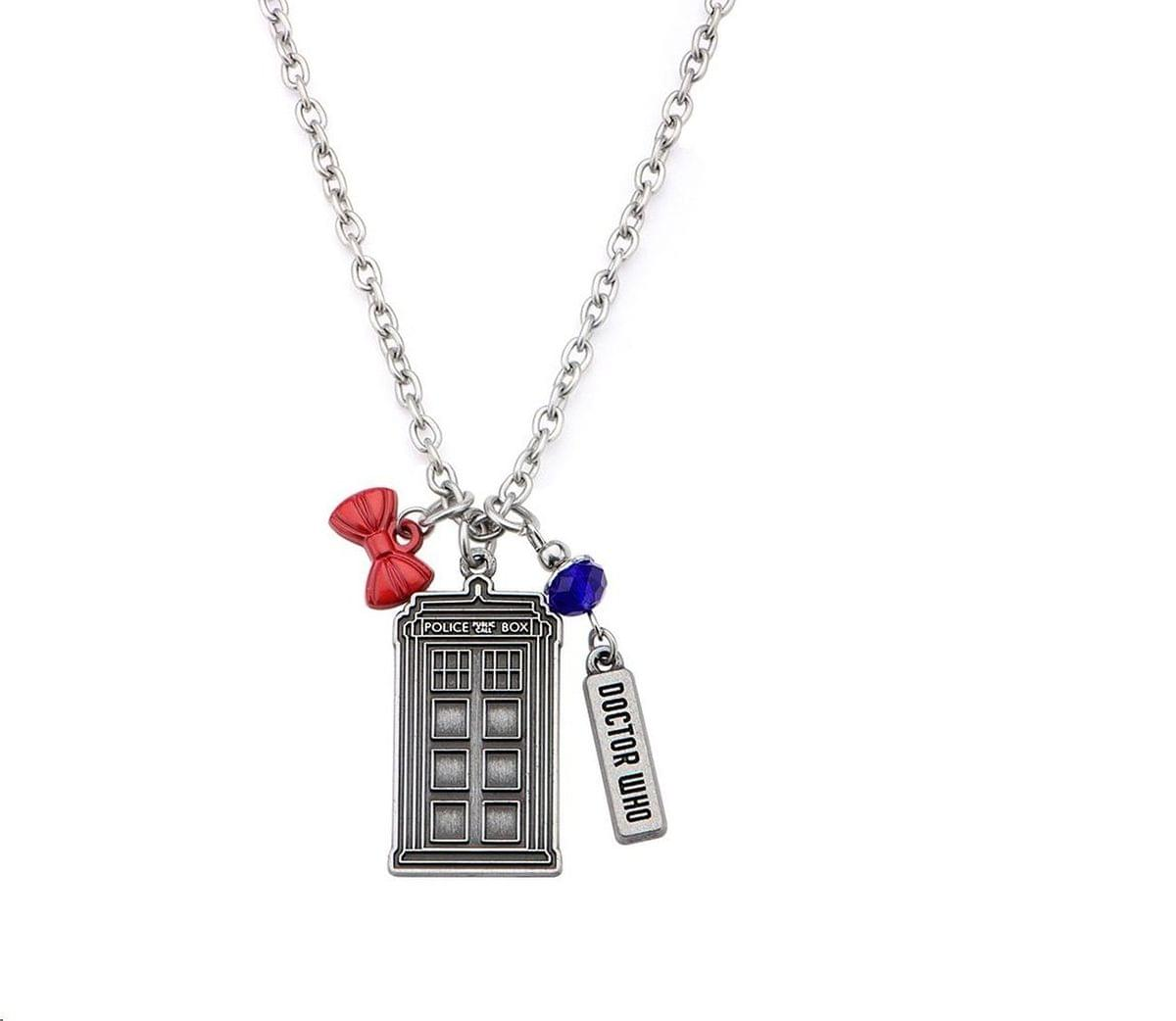 Doctor Who Stainless Steel Multi-Charm TARDIS Necklace