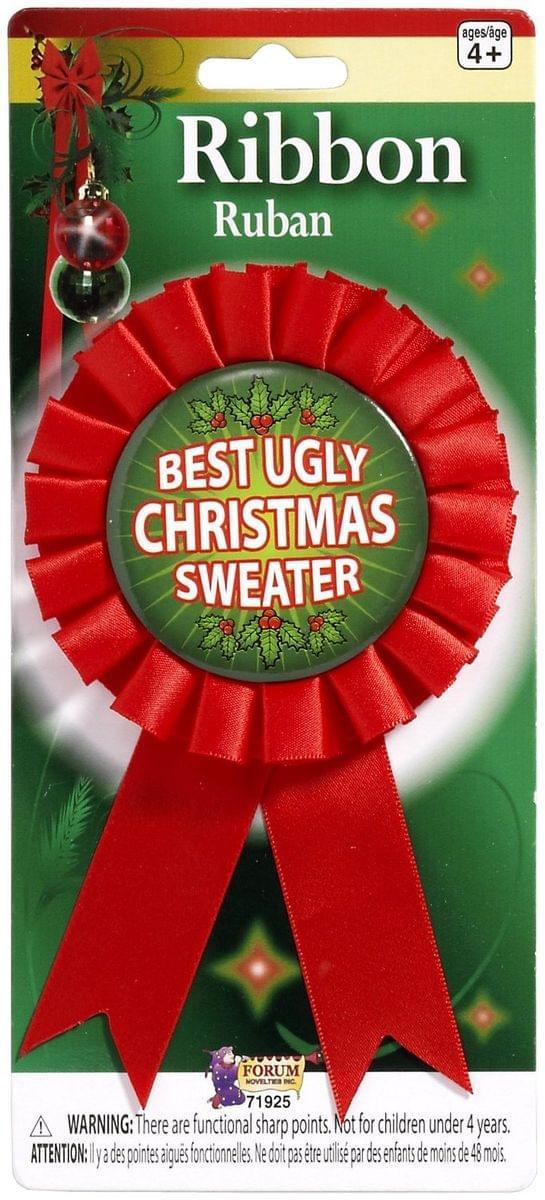 Best Ugly Christmas Sweater Costume Award Ribbon