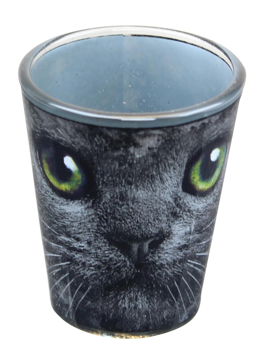 Black Cat With Green Eyes 2oz Shot Glass