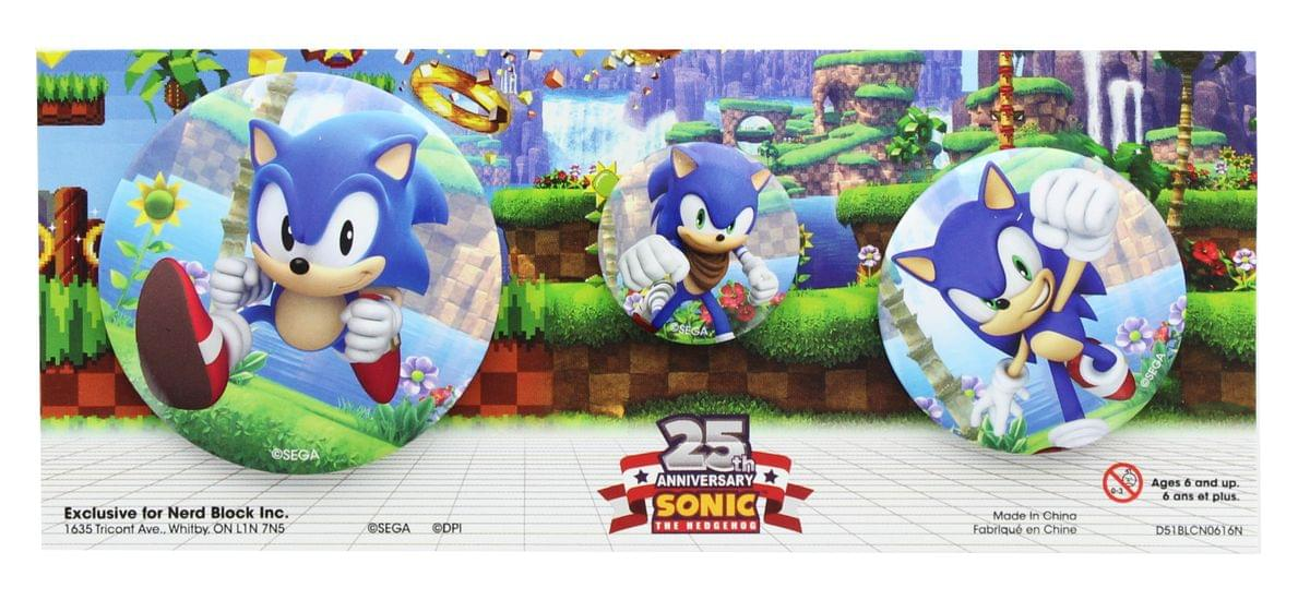 Sonic the Hedgehog 25th Anniversary Bouton Lot de 3