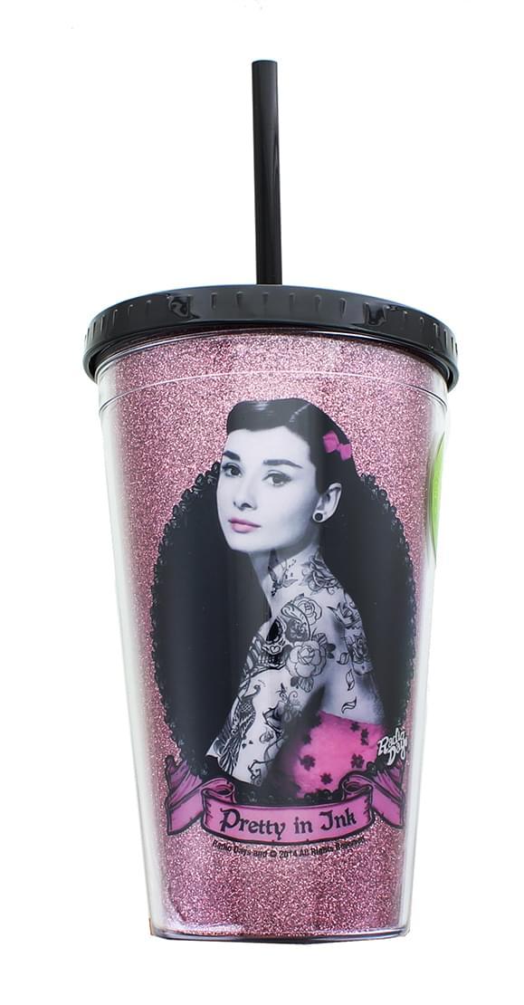 Audrey Hepburn Pretty In Ink 16oz Glitter Carnival Cup