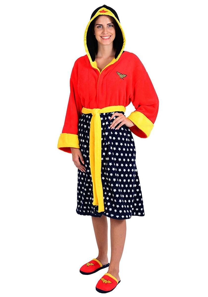 DC Comics Wonder Woman Ladies Hooded Fleece Robe and Slipper Set