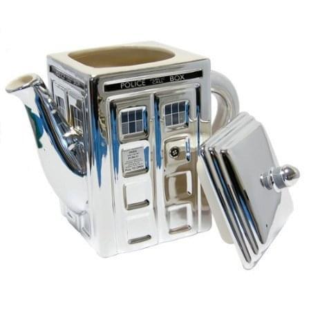 Doctor Who 3D Tardis Metallic Silver Ceramic Teapot