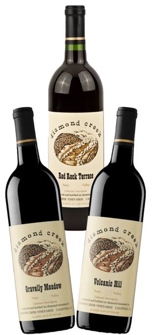2016 DIAMOND CREEK Cabernet Sauvignon Mix Pack: 1 x Volcanic Hill, 1 x Red Rock Terrace, 1 x Gravelly Meadow