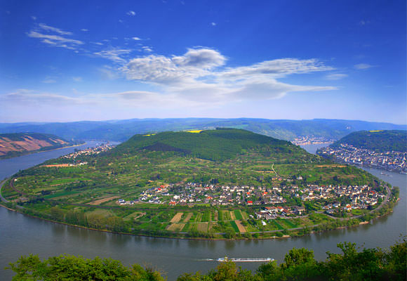 A bend in the Rhine River in Germany