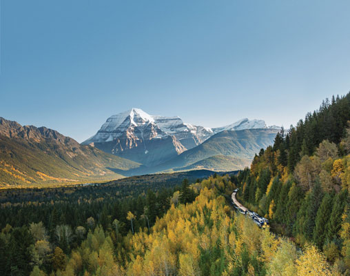Rocky Mountaineer passing Mt. Robson  - photo by Rocky Mountaineer