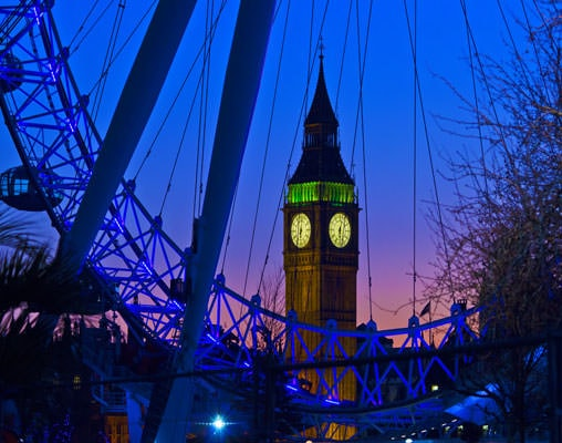 Big Ben and London Eye at Night