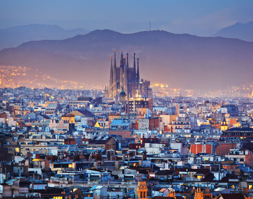 View of Barcelona at Sunset