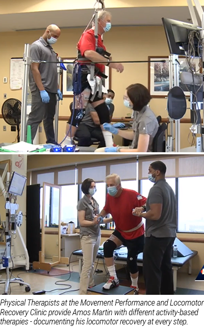 Physical Therapists at the Movement Performance and Locomotor Recovery Clinic provide Amos Martin with different activity-based therapies - documenting his locomotor recovery at every step.