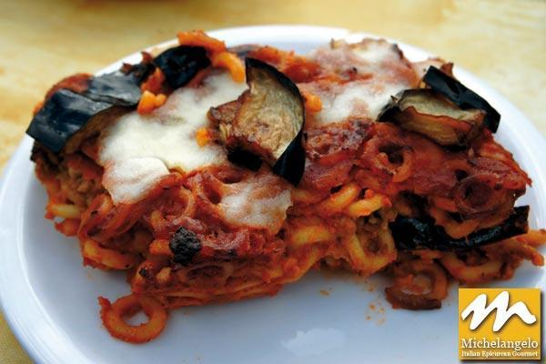 Baked Pasta with Eggplants and Smoked Mozzarella Cheese