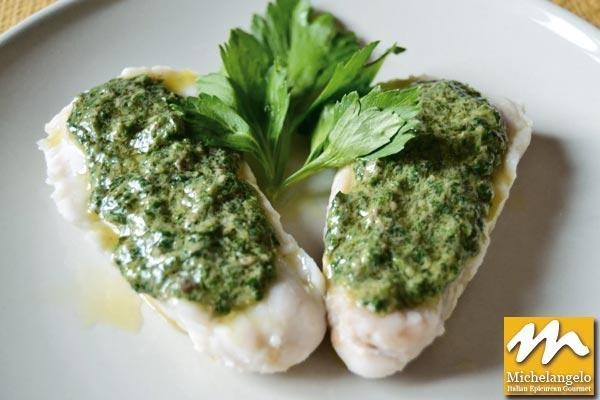 Halibut with Mediterranean Herbs and Salsa Verde