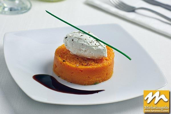Pumpkin Mousse with Goat Cheese and Balsamic Vinegar