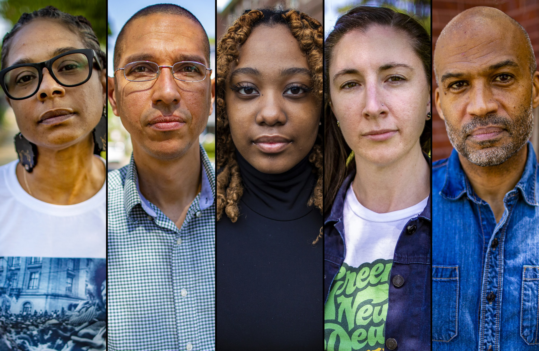 From left to right, Shanakawa Pereira, Franklin Peralta, Tanoah Pierre, Emily Conklin and Carl Williams. (Jesse Costa/WBUR)