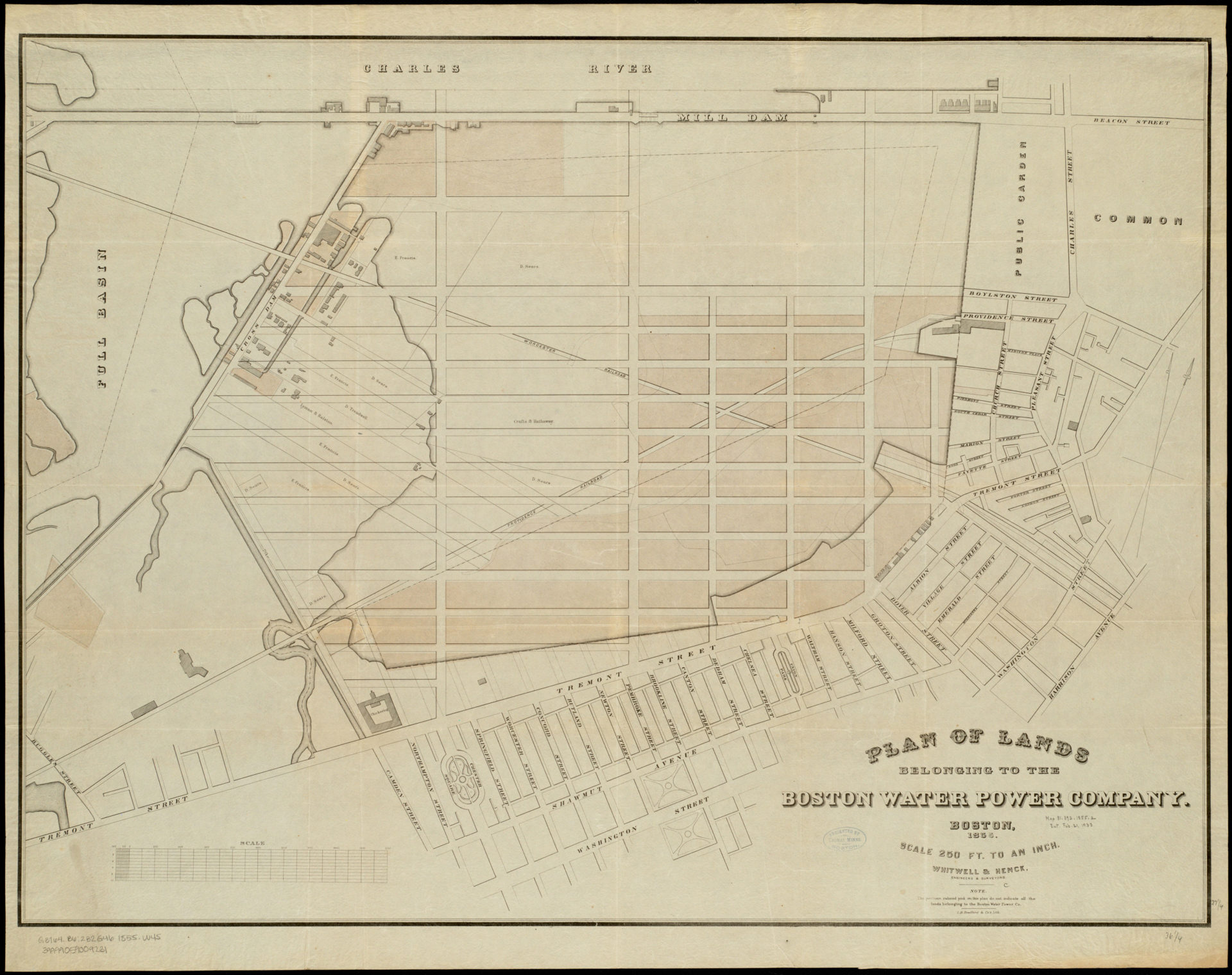 Whitwell & Henck, Plan of lands belonging to the Boston Water Power Company (L. H. Bradford & Co., ca. 1855). (Courtesy the Muriel G. and Norman B. Leventhal Family Foundation)