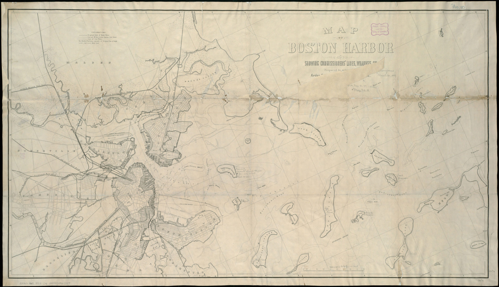 Caption: Joint Standing Committee on Boston Harbor, Map of Boston Harbor: showing commissioners' lines, wharves &c. (1852). (Courtesy the Muriel G. and Norman B. Leventhal Family Foundation)