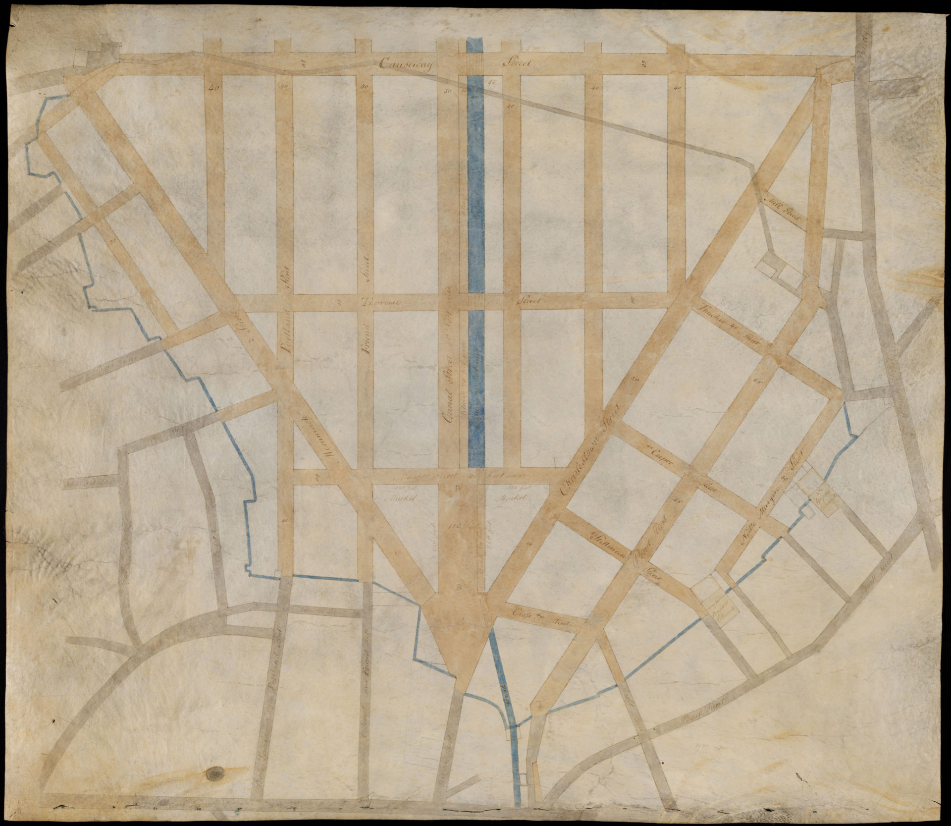 Charles Bulfinch, Manuscript plan of the Bulfinch Triangle,1807. (Courtesy the Muriel G. and Norman B. Leventhal Family Foundation)