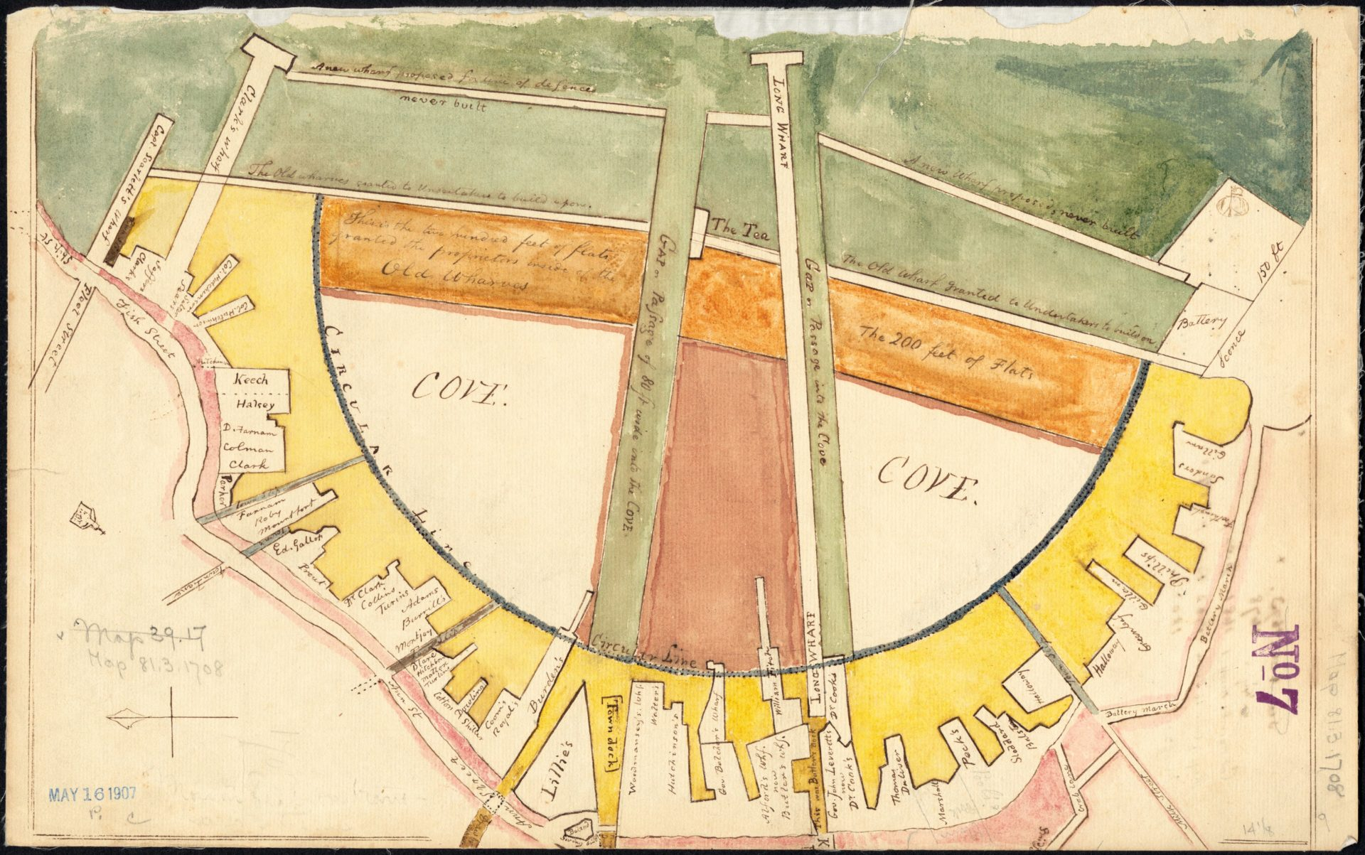 Caleb H. Snow after Jacob Sheafe, Manuscript plan showing wharves of Boston (ca. 1820, original 1708). (Courtesy the Muriel G. and Norman B. Leventhal Family Foundation)