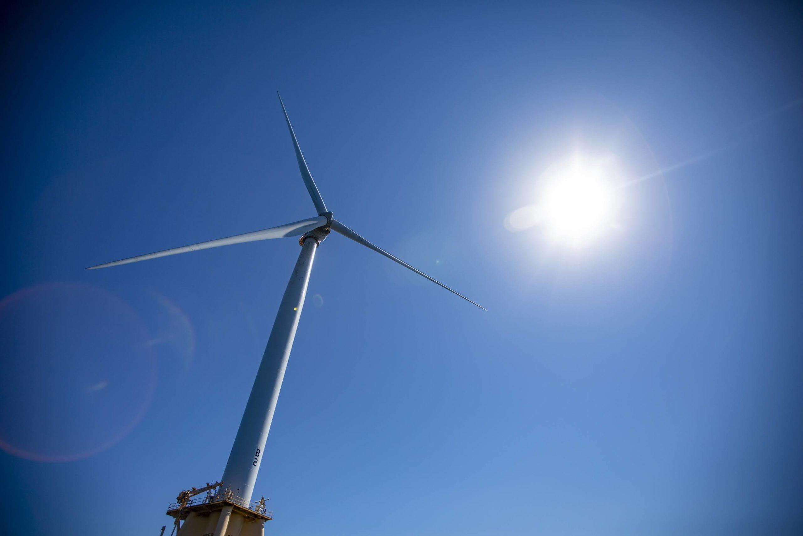 A wind turbine from the Block Island Wind Farm. (Jesse Costa/WBUR)