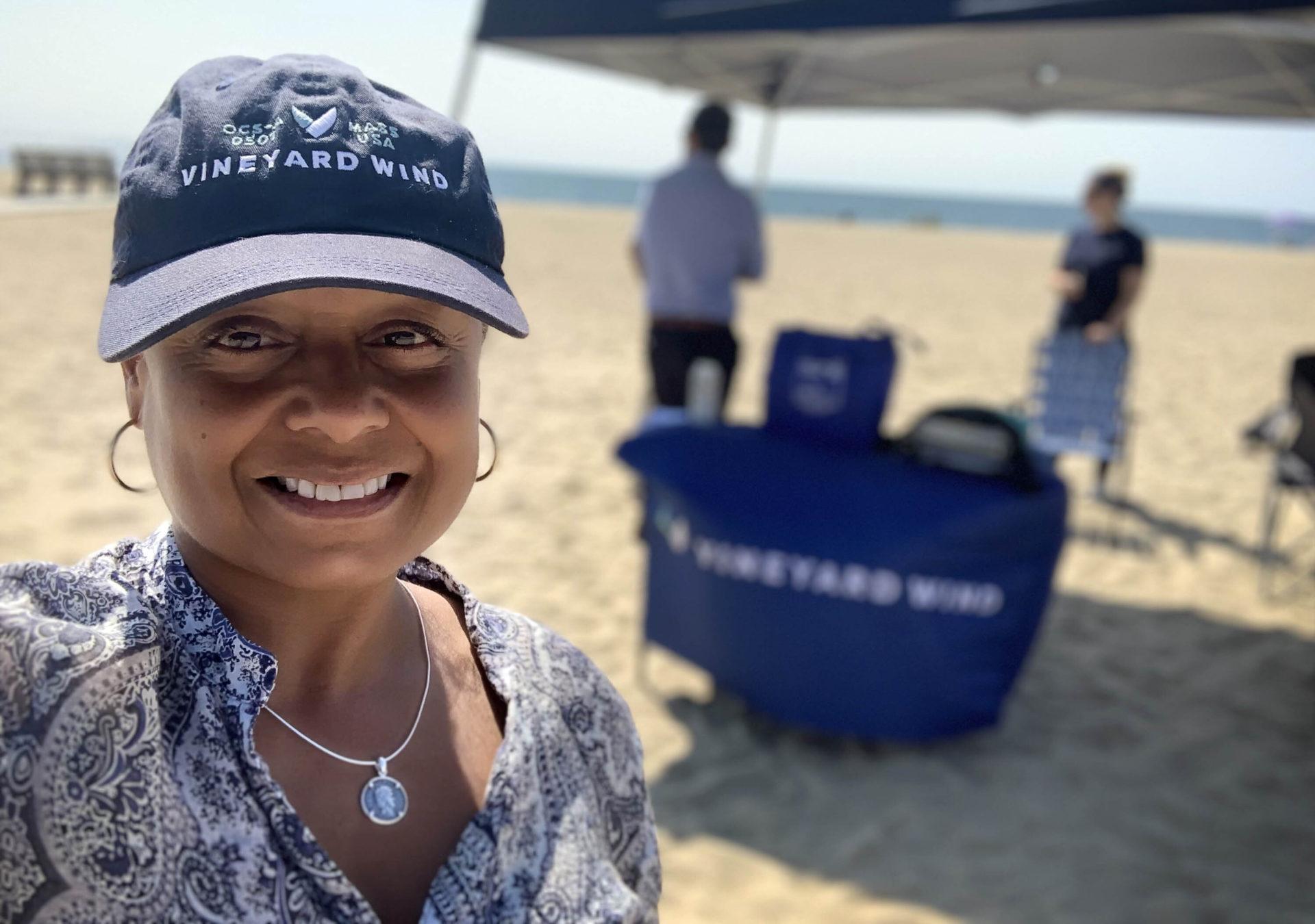 Vineyard Wind's Massachusetts Liaison Dana Rebeiro, at an outreach event on Covell's Beach in Cape Cod. (Courtesy Dana Rebeiro)