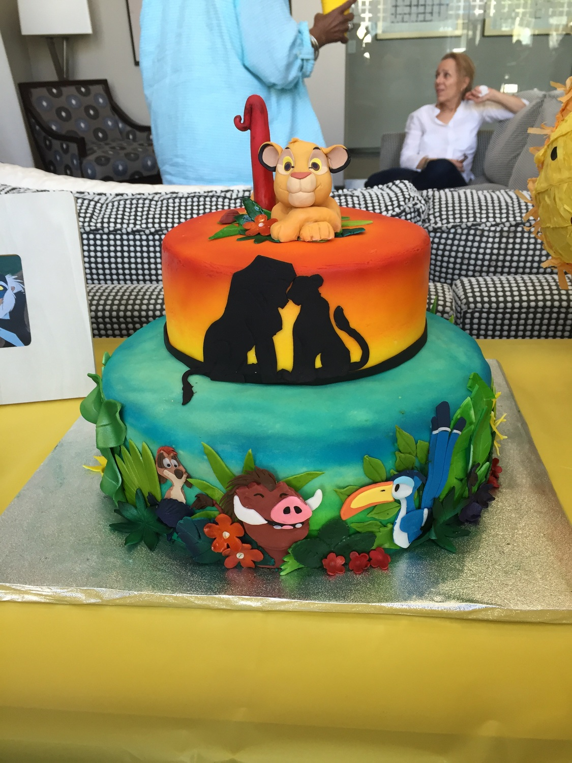 Description Lion King Themed Cake Perfect For Babies First Birthday Fondant Covered With Rice Crispie As The Topper All Pieces Are Hand Cut