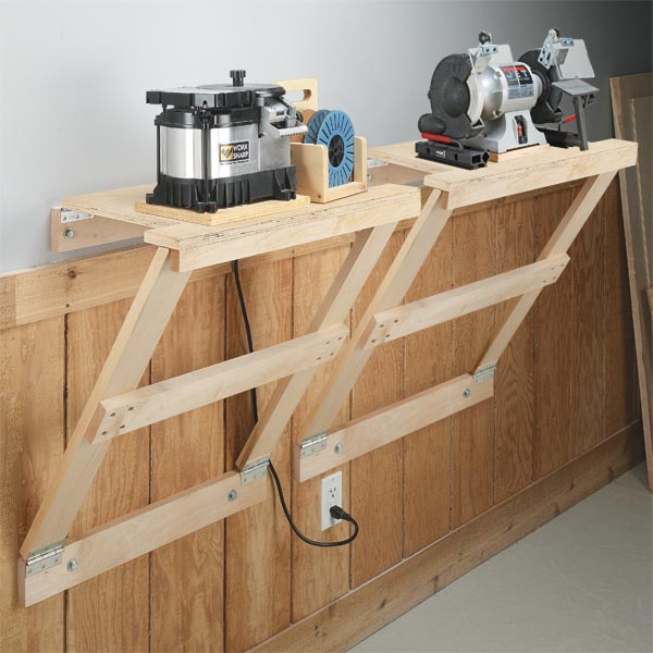 Space saving workstation woodsmith tips - Space saving ideas for garage ...
