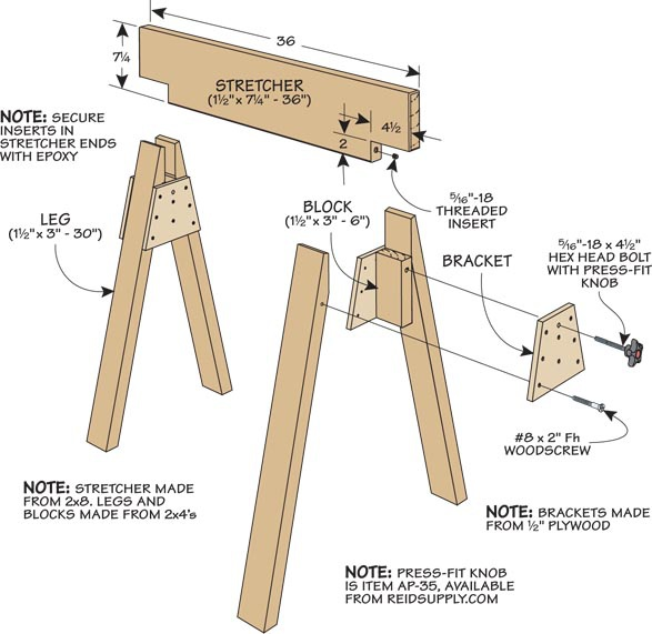 Stow-Away Sawhorses | Woodsmith Tips