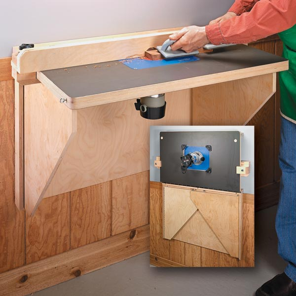 Space saving router table woodsmith tips - Wall mounted flip up table ...