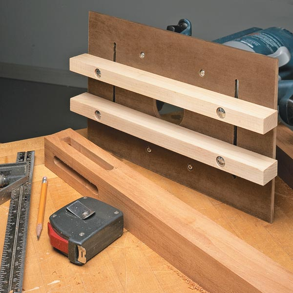 Router jig for perfect mortises woodsmith tips for Wood router ideas