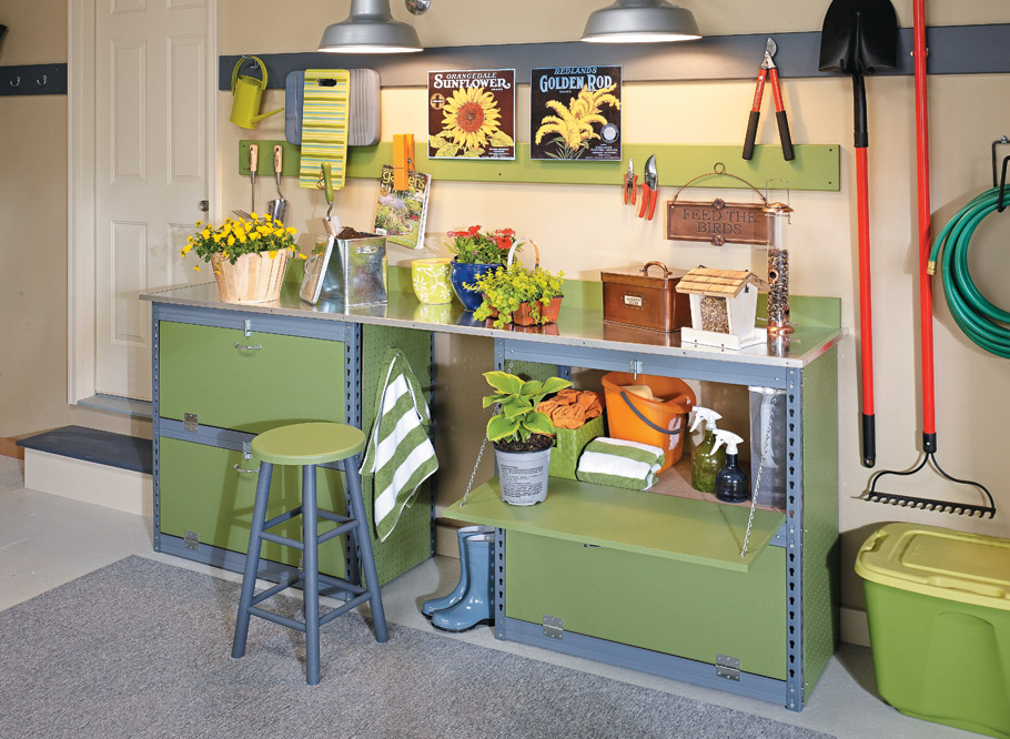 Using inexpensive materials, you can create a custom garage storage solution that mimics the look of high-end systems.