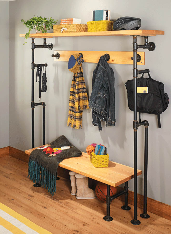 This set of mudroom organizer projects gets its unique and customizable style from unlikely materials: ordinary plumbing pipes and fittings.