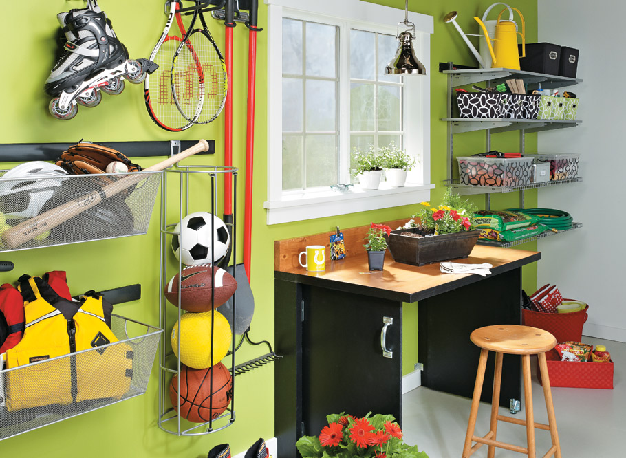A work and storage center for your garage doesn't have to eat up much money or space!