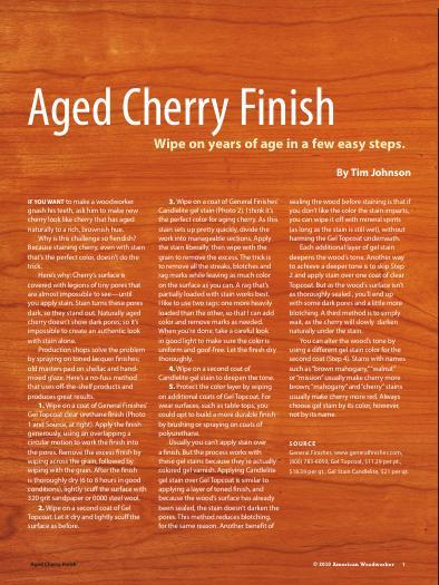 Aged Cherry Finish: