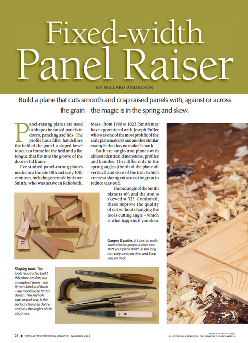 Make a Fixed-Width Panel Raising Plane
