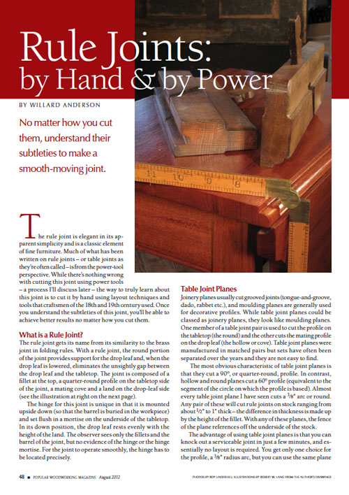Rule Joints by Hand & Power Article