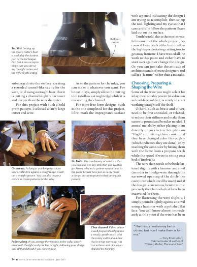 To get started creating your own wire inlays, all you need is a little know how (provided here by expert woodworker Don Williams), some wire, a rotary tool, and a few inexpensive shop-made tools.