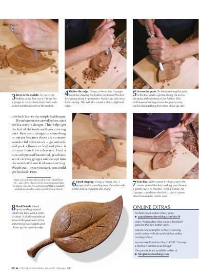 Learn techniques for 'shallow relief' and 'applied' carvings.
