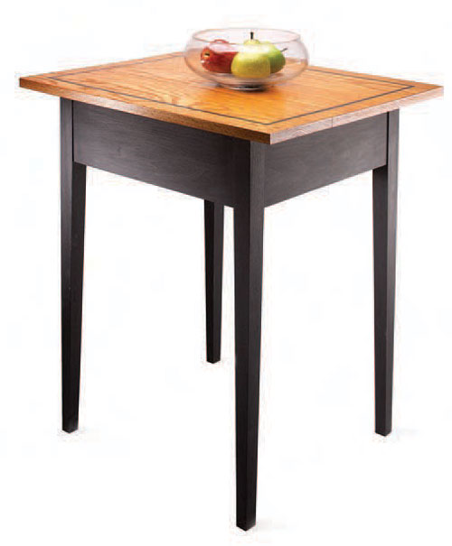 This table is designed with tapered legs for a light look, but it's built with solid joinery.