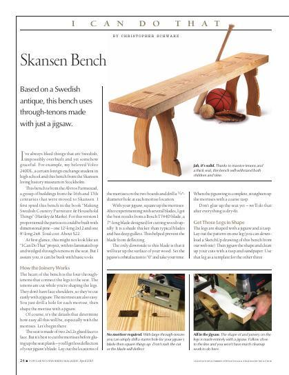 Part of our I Can Do That project collection, this bench is based on a Swedish antique. It uses through mortise-and-tenon construction to produce a solid bench that will withstand both children and time!
