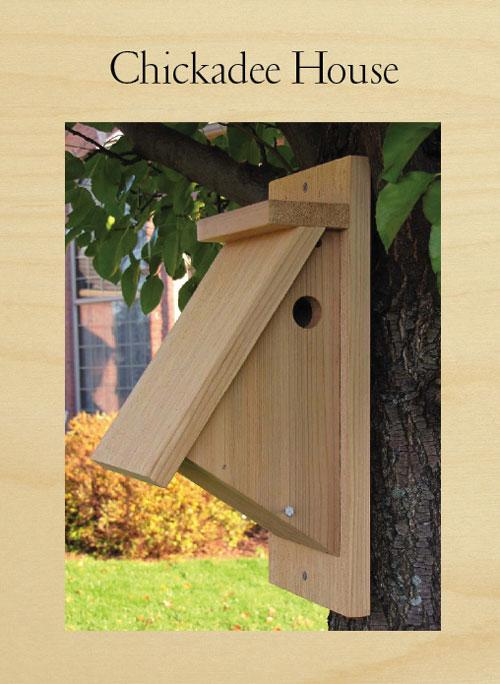 This birdhouse can attract chickadees, house wrens, and nuthatches.