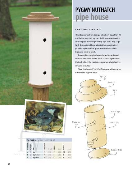 There's nothing small about this unique idea for a birdhouse using PVC pipe and a couple pieces of wood.