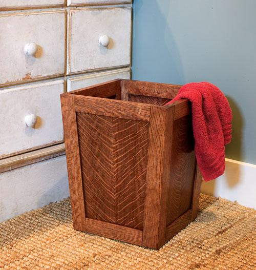 Add a touch of class to your home office by making this wooden wastebasket.