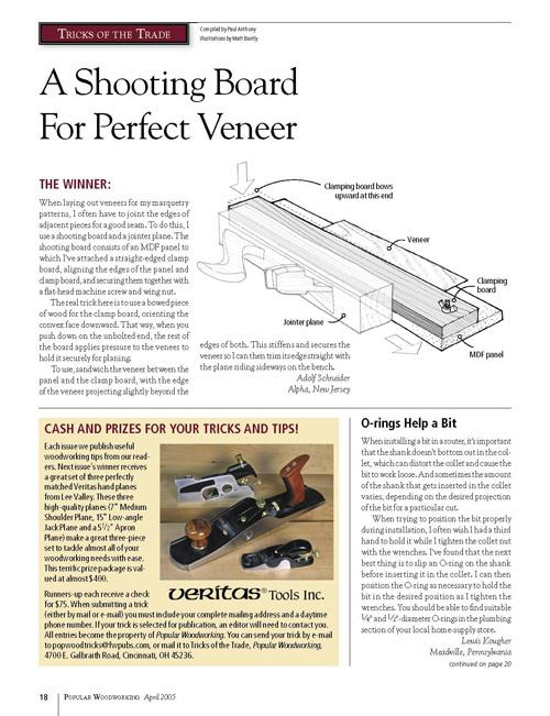 Tricks of the Trade: Shooting Board for Veneer