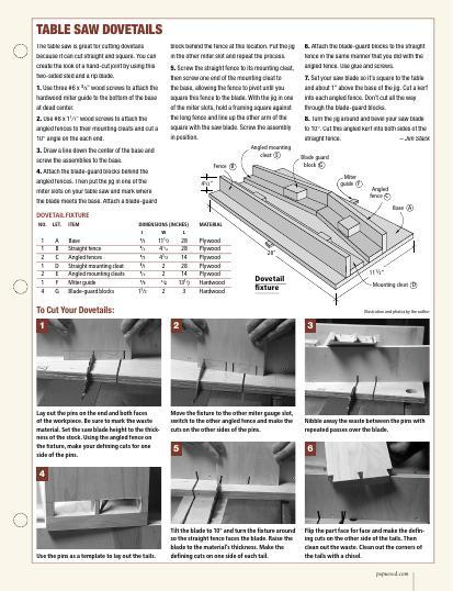 This download will show you how to make woodworking joints on the table saw with and without jigs.
