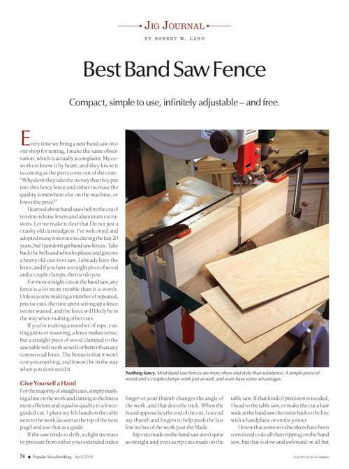 Jig Journal: 50-cent Band Saw Fence